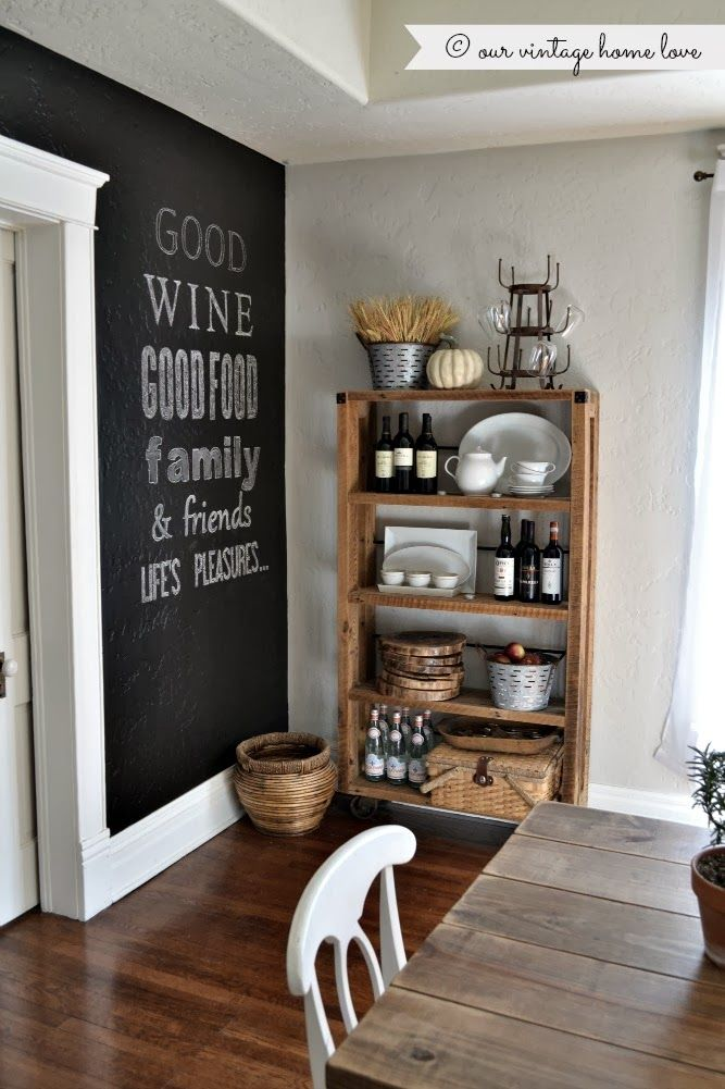 Etag?re Bois Brut : Dining Room with Chalkboard Wall