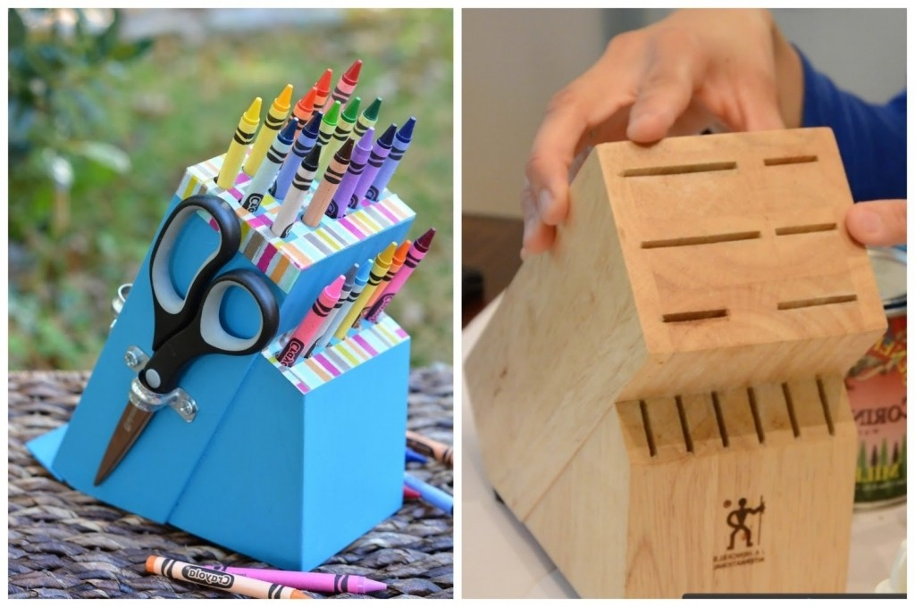 Upcycle An Old Knife Block Into A Diy Crayon Holder Easy Diy Easy Upcycling Crafts Easy Upcycling Crafts - Gladys Home Ideas
