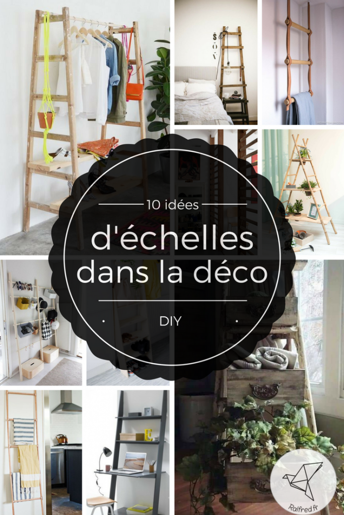 10 id es de d coration avec une chelle diy ralfred 39 s blog deco diy. Black Bedroom Furniture Sets. Home Design Ideas