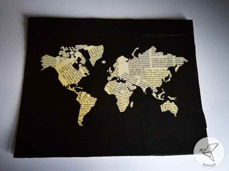 tableau carte du monde collage papier diy ralfred 39 s blog deco diy. Black Bedroom Furniture Sets. Home Design Ideas