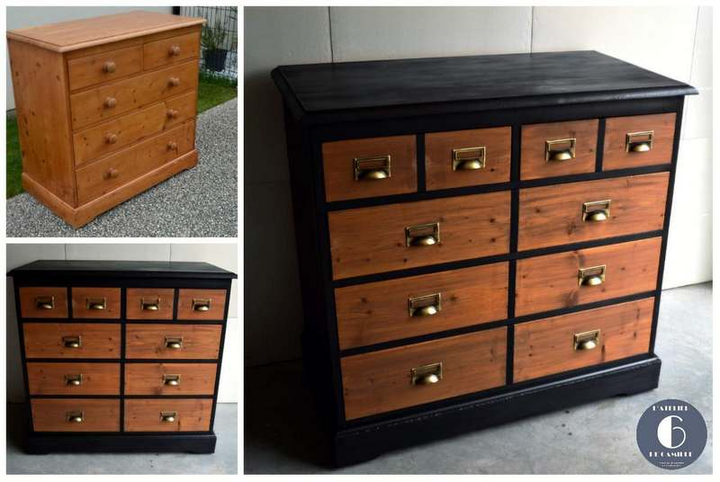 relookage dune commode en pin en meuble de mtier style industriel